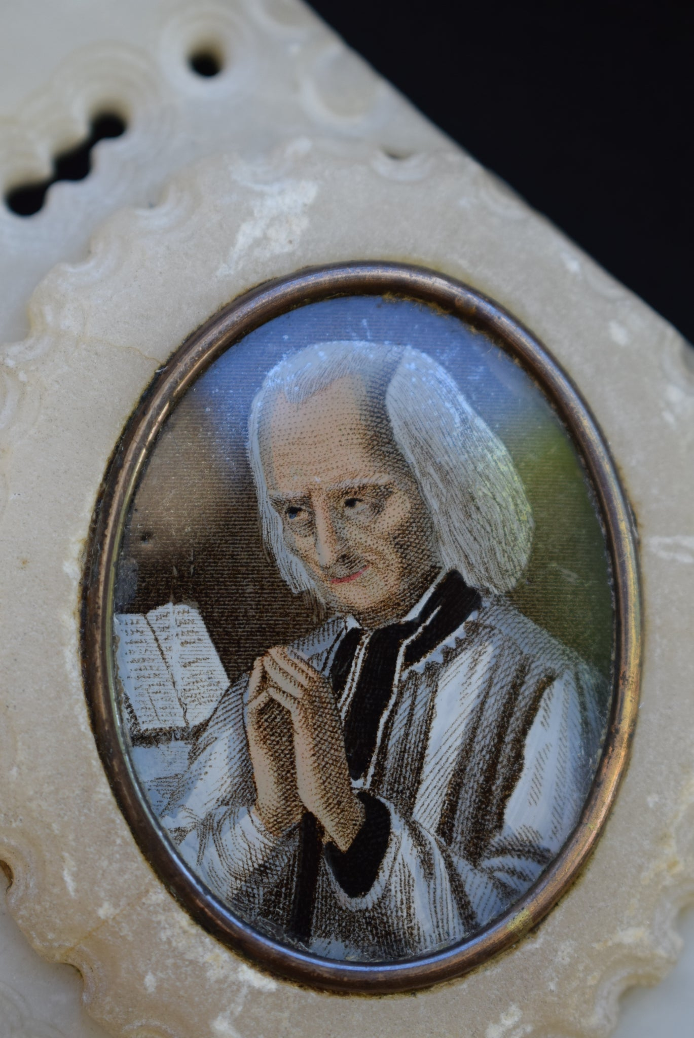 French Antique Carved Alabaster Wall Frame of Saint John Vianney Cure d'Arc and Saint Philomene