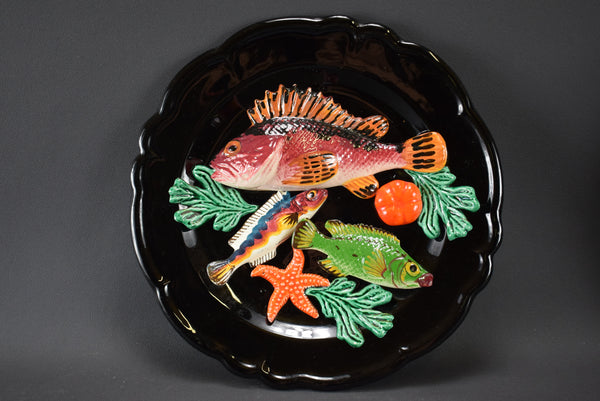 Vallauris Majolica Fish Sea Life Palissy Trompe L'Oeil Large Wall Charger Plate