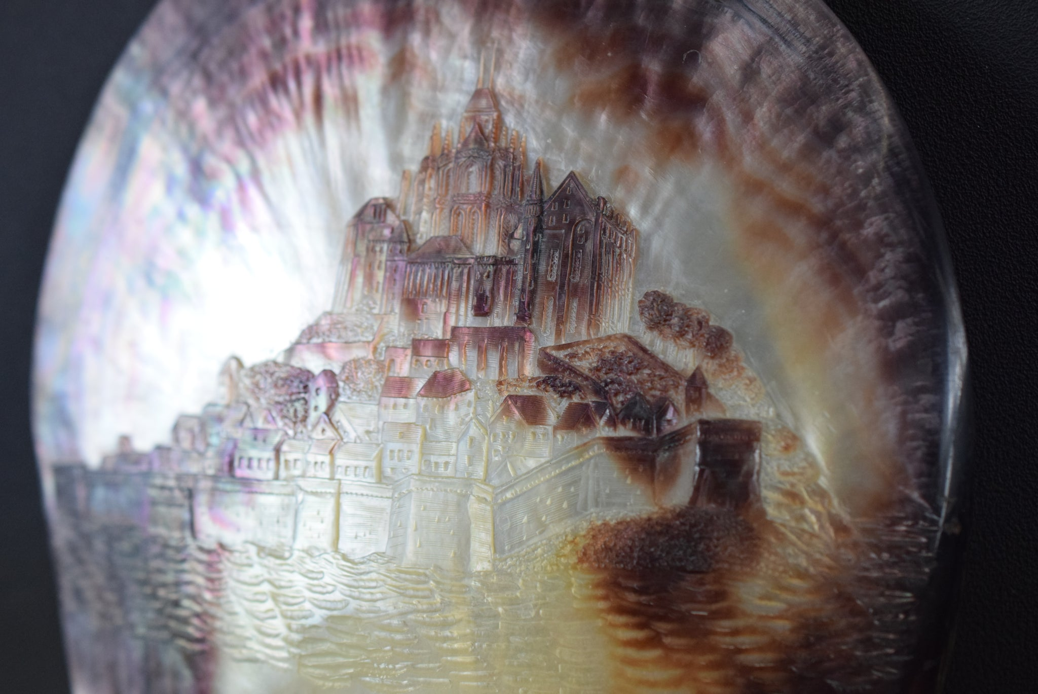 Victorian Grand Tour Mont Saint Michel Carved Shell Plaque Mother of Pearl