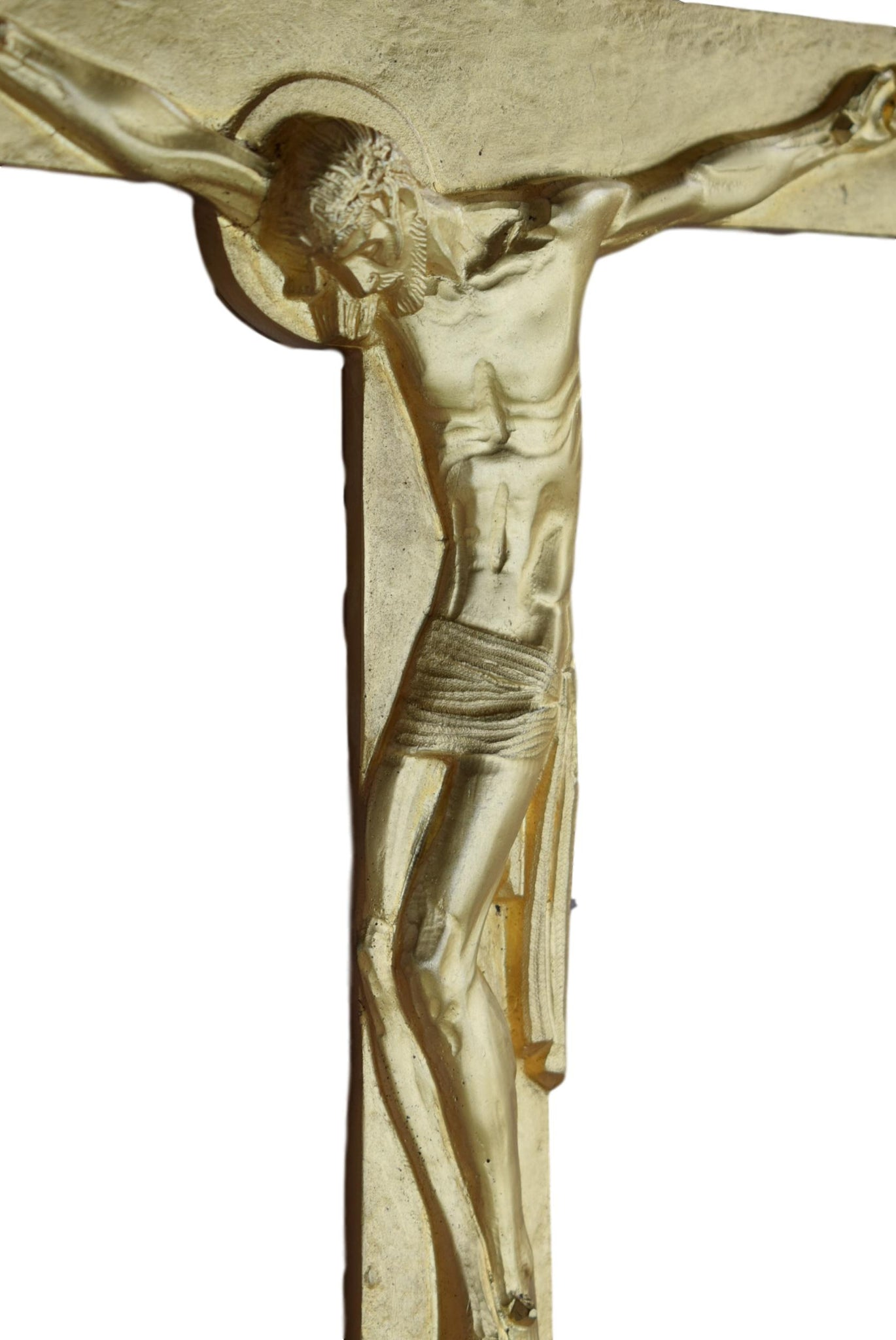 French Art Deco Ormolu Bronze Wall Cross by AM Roux - Bronze Wall Crucifix - Large Catholic Religious Cross
