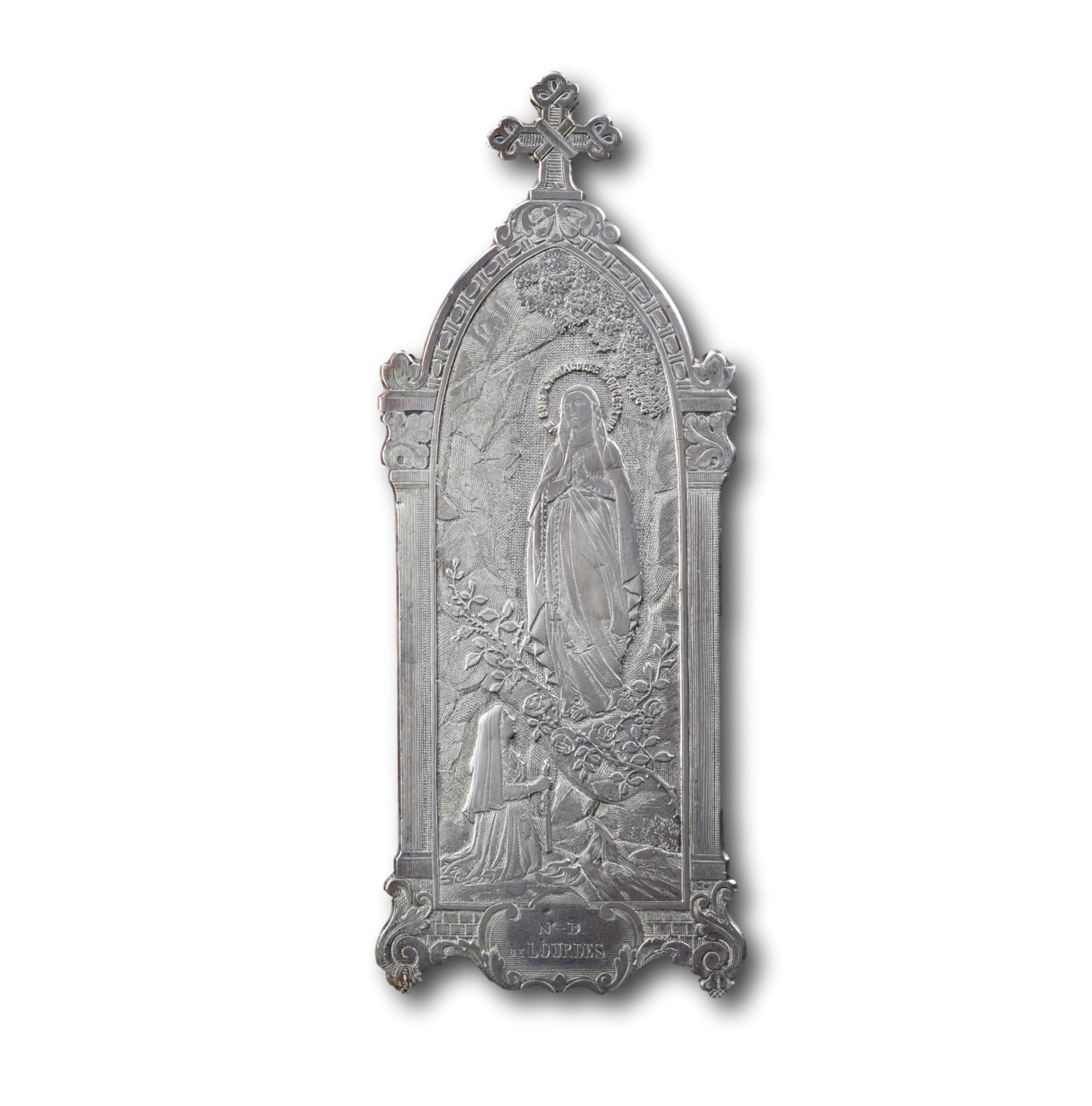 Notre Dame de Lourdes Standing Plaque, French Religious Engraved Lourdes Grotto Oratory, Silver Engraved Wicker Style, St Bernadette