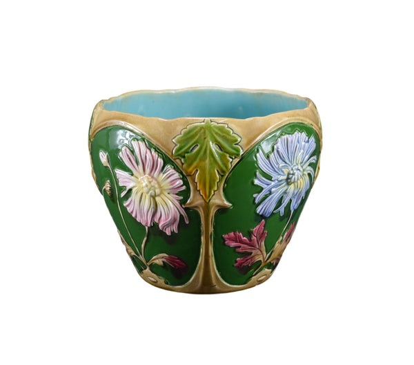 Art Nouveau French Majolica Jardiniere Planter Cache Pot Green Dahlia
