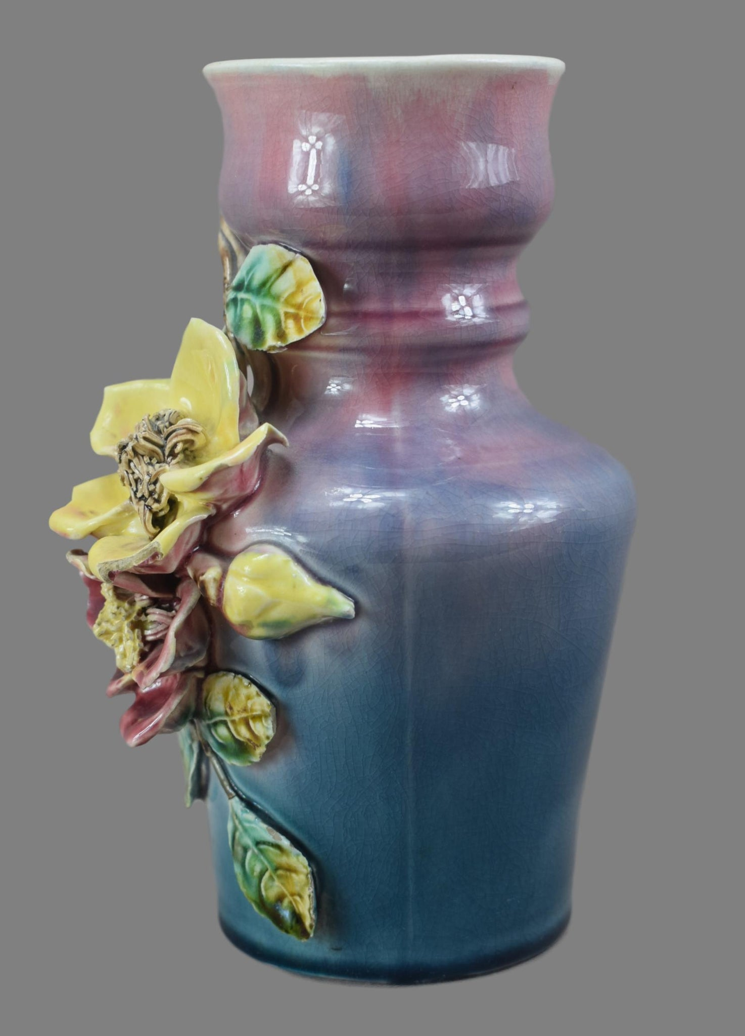 Pair Applied Barbotine Vases - Charmantiques