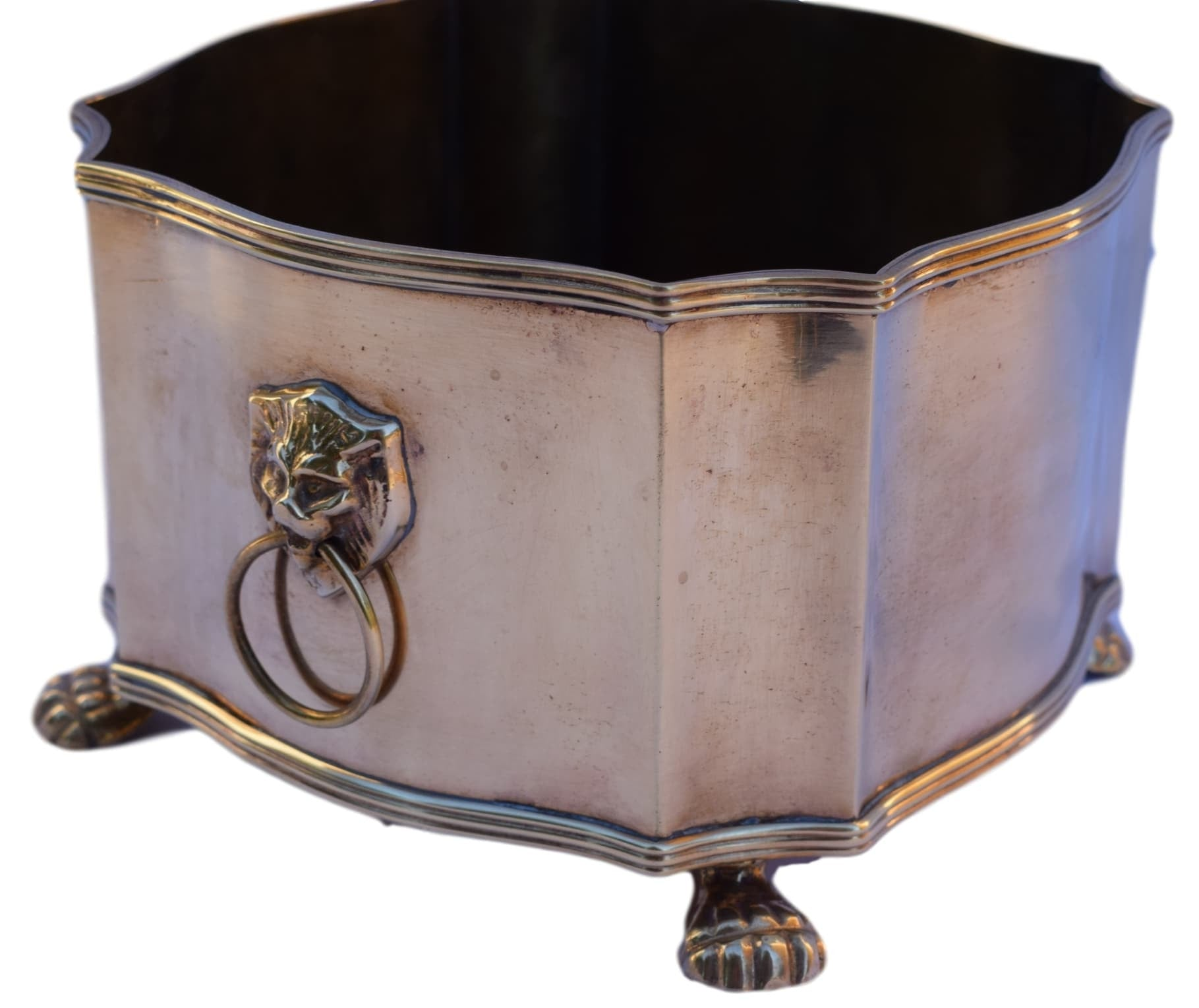 French Antique Directoire Style Brass and Bronze Jardiniere - Lion Paw and Head Handle Planter - French Chateau Garden Cache Pot - Chic