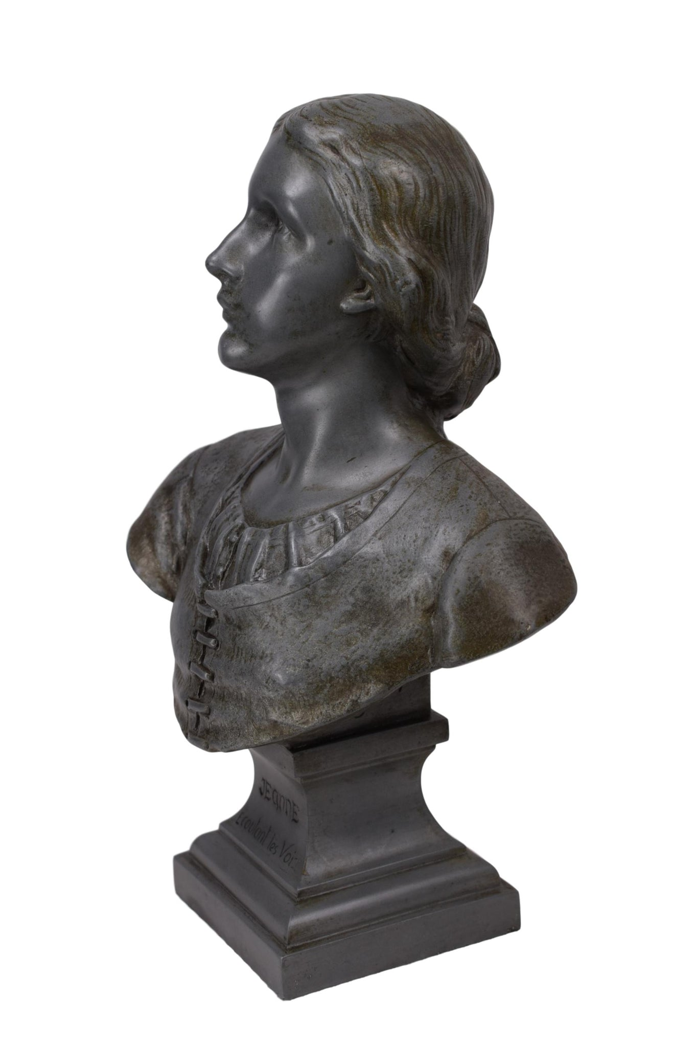 Saint Joan of Arc Pewter Bust by François-Charles de Franoz, Joan of Arc Listening to the Voices Statue, Art Nouveau Joan of Arc Sculpture