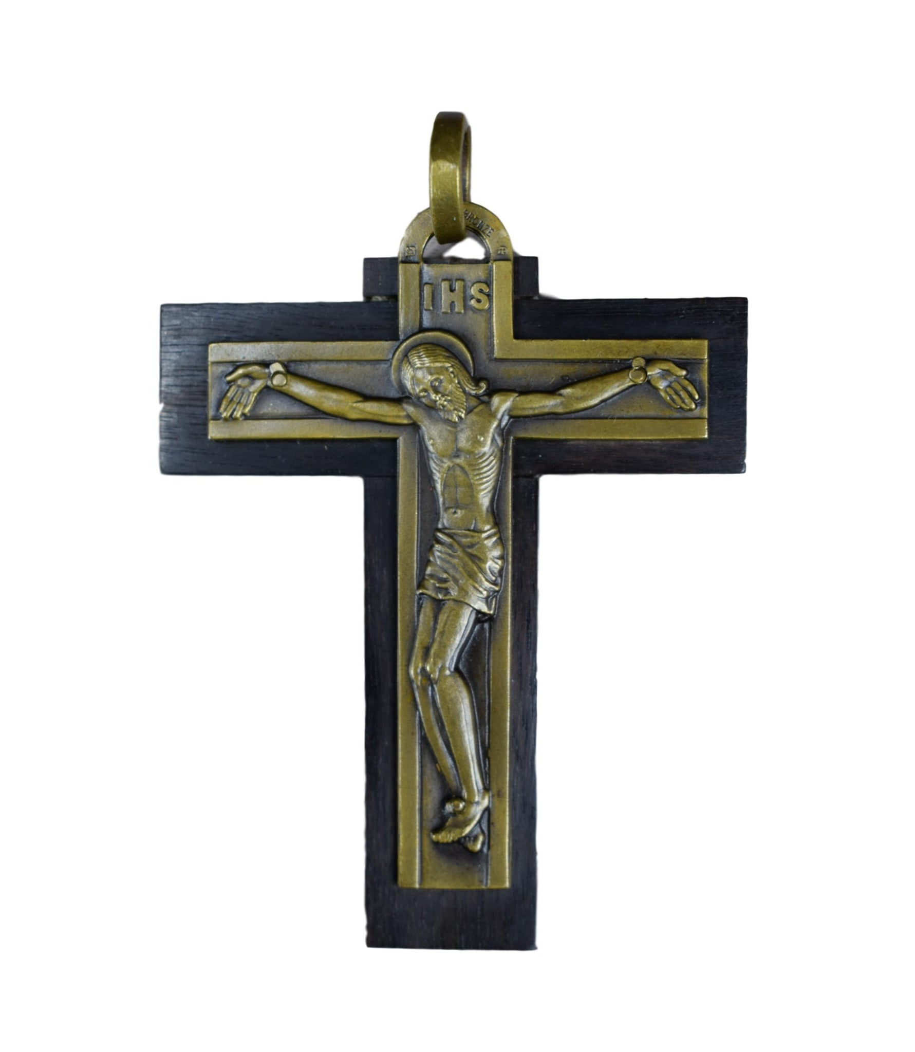 Bronze & Wood Pectoral Cross - Charmantiques