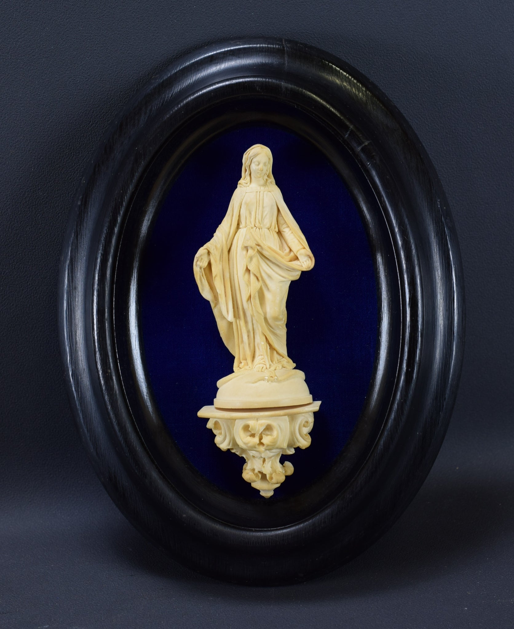 Meerschaum Carved Reliquary Mary Wall Medallion Black Frame