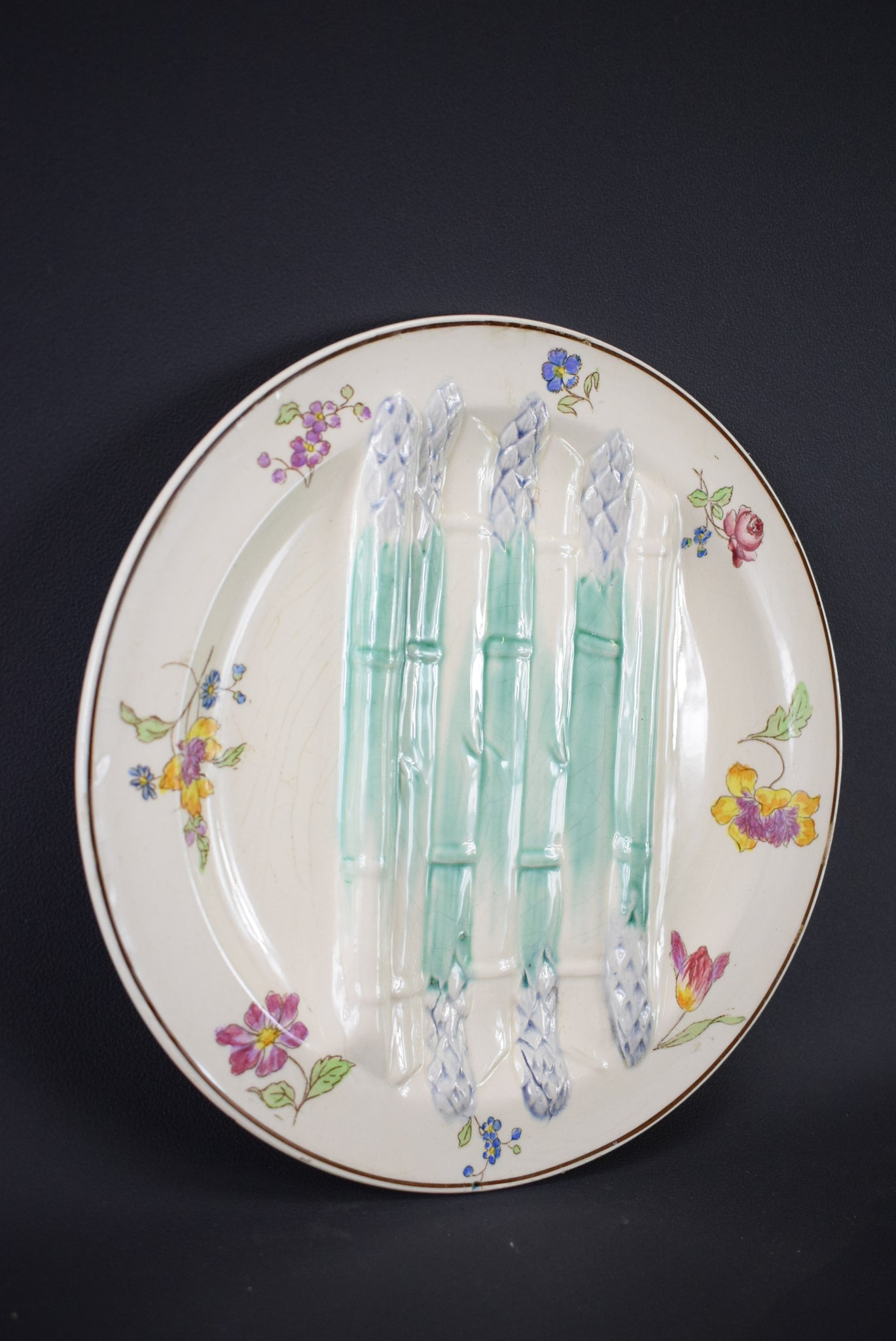 Antique French Ironstone Longchamp Asparagus Plate Dish