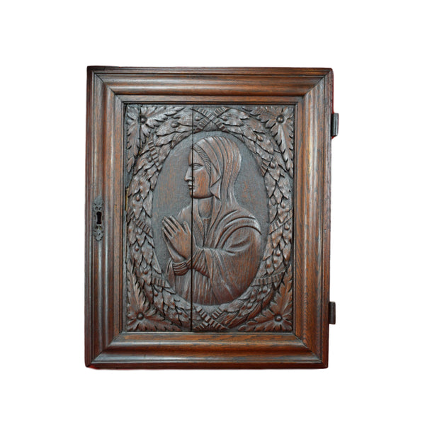 17th.C Virgin Mary Carving Door - Charmantiques