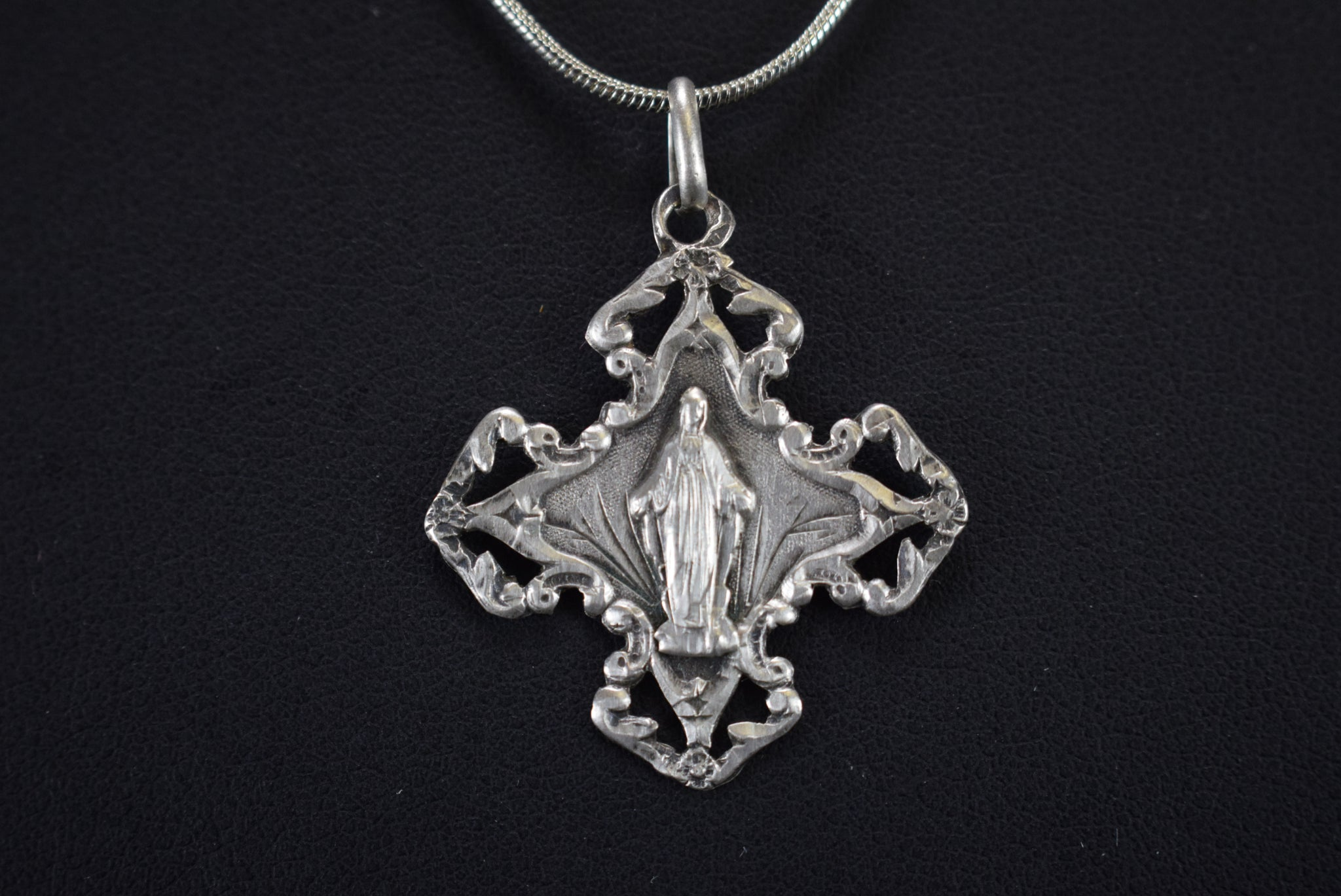 Antique Silver Mary Medal - Charmantiques