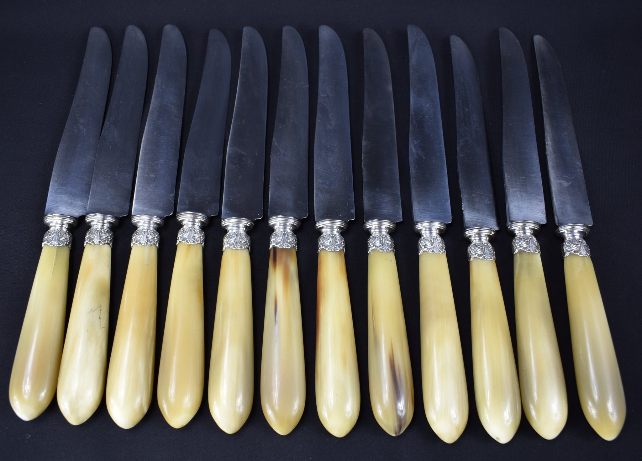 12 Horn & Silver Dinner Knives - Charmantiques