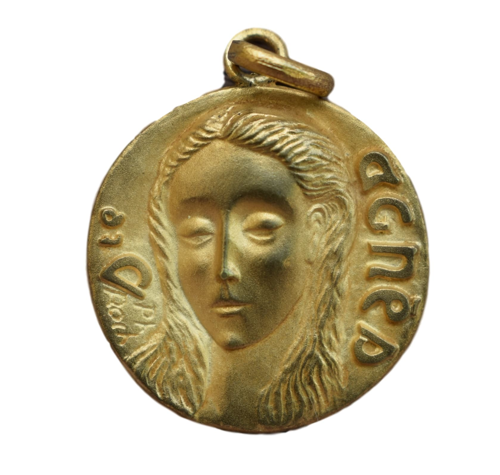Saint Agnes Medal - French Religious Vintage Gold Medal Pendant Charm by Philippe Roch - Modernist Design - Patrons of girls