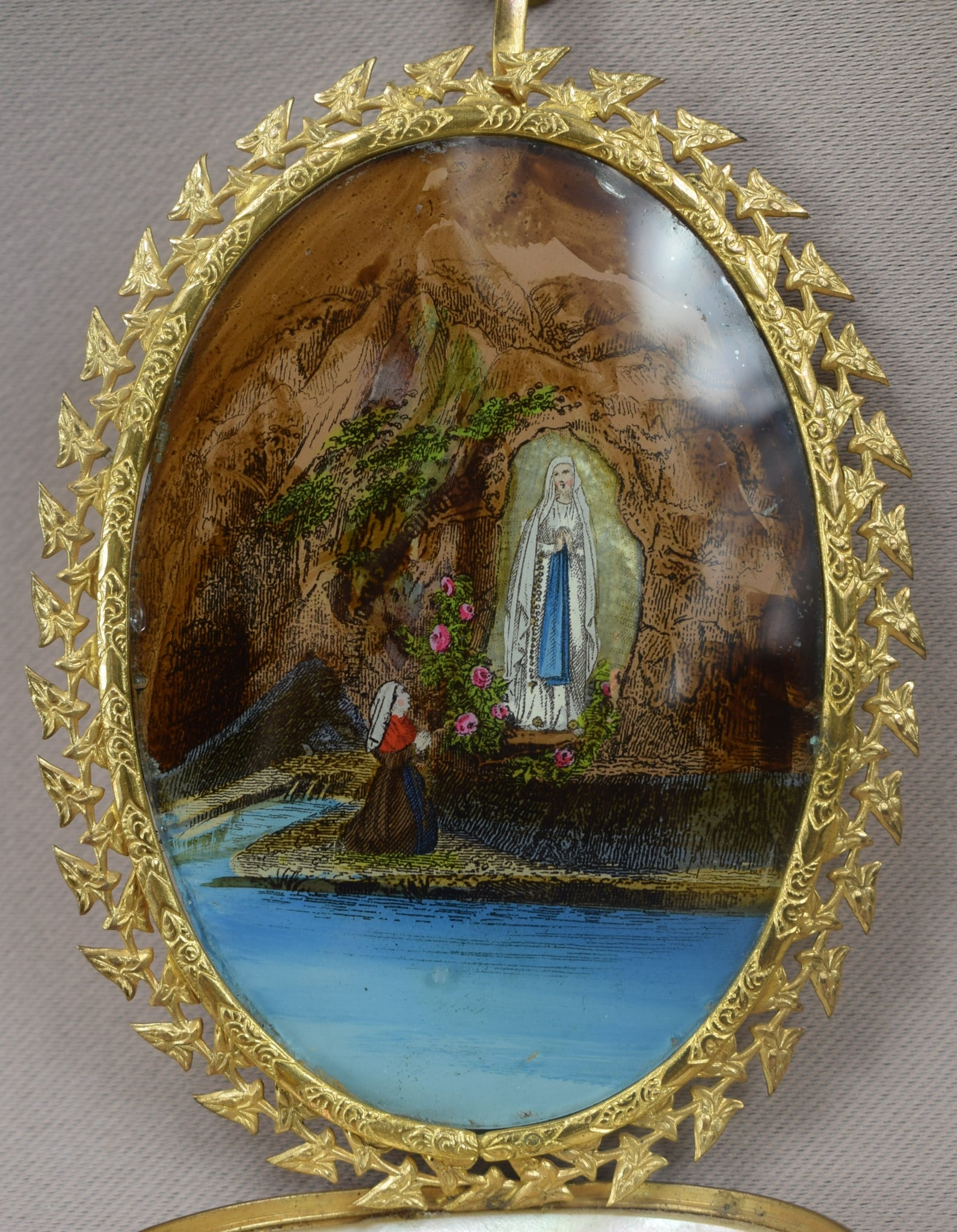 Antique French Eglomise & Mother of Pearl Holy Font, Lourdes Grand Tour Souvenir Holy Water Font, c. 1900