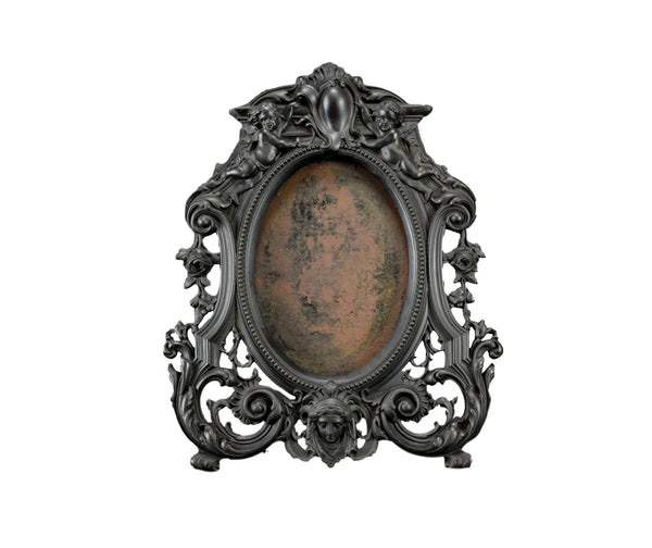 Victorian French Antique Black Photo Frame Vulcanite Wall Frame