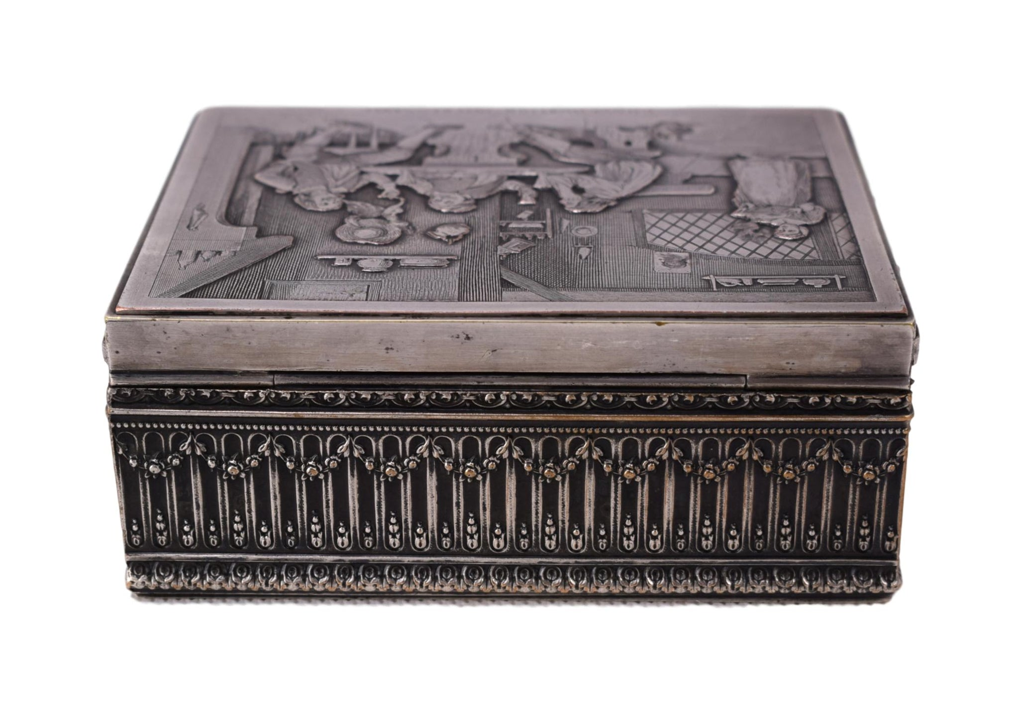 Etched Silver Jewelry Box - Charmantiques