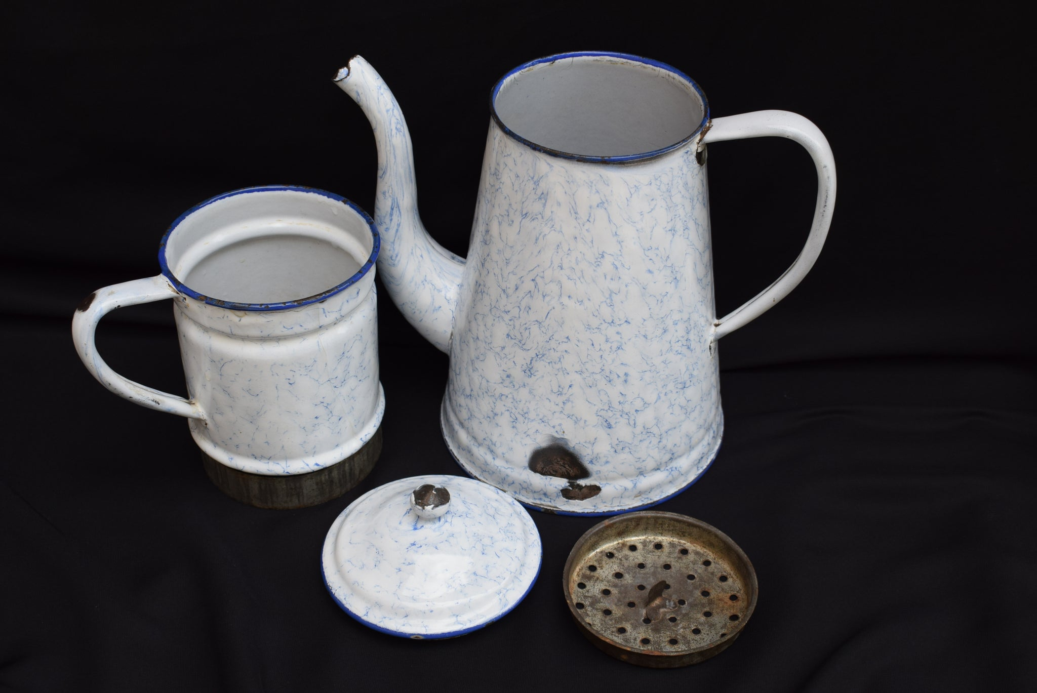 French Vintage Graniteware Enamel Coffee Pot - Charmantiques