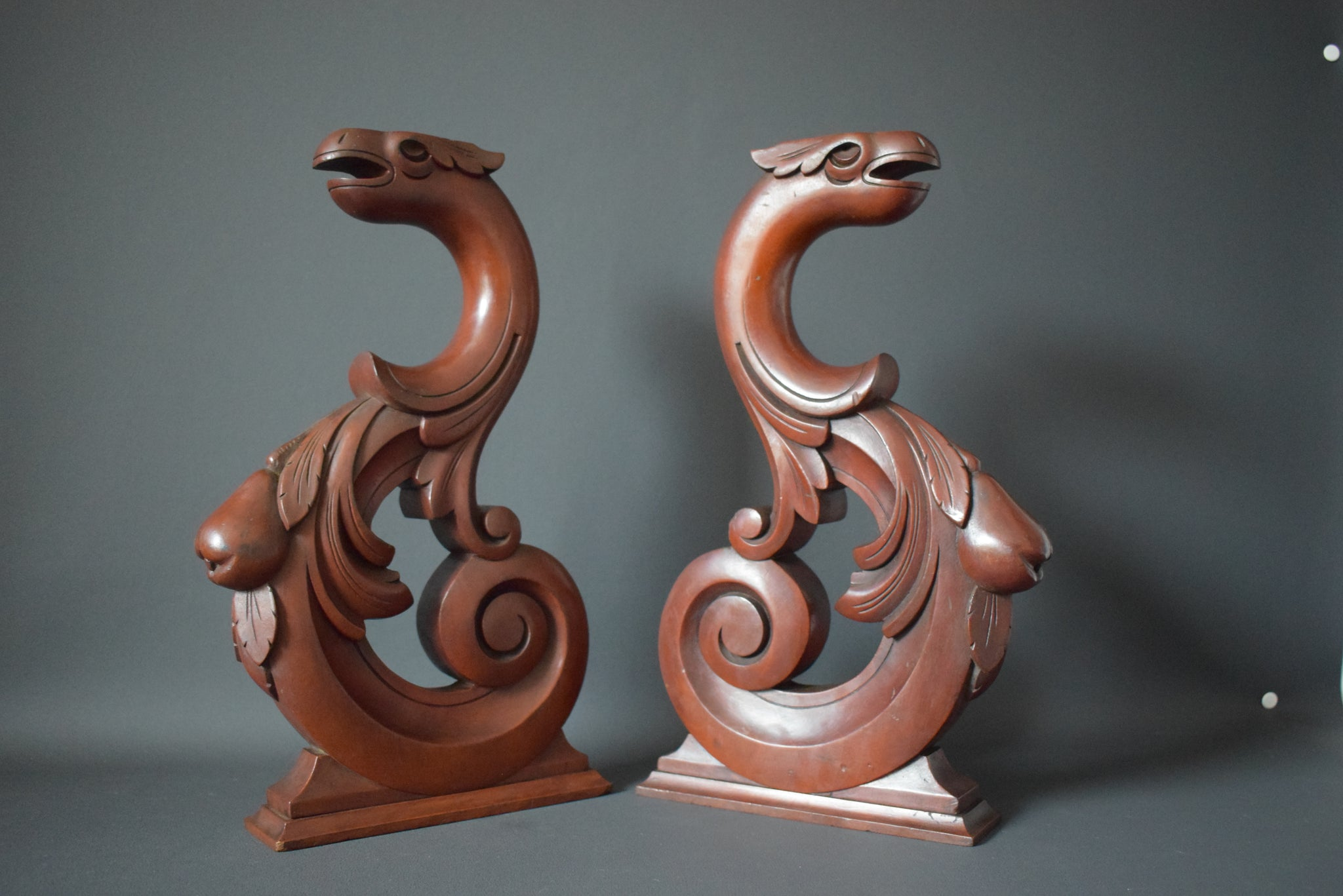 19th.C Pair of Carved Wood Griffin Cabinet Supports Chimera Corbels