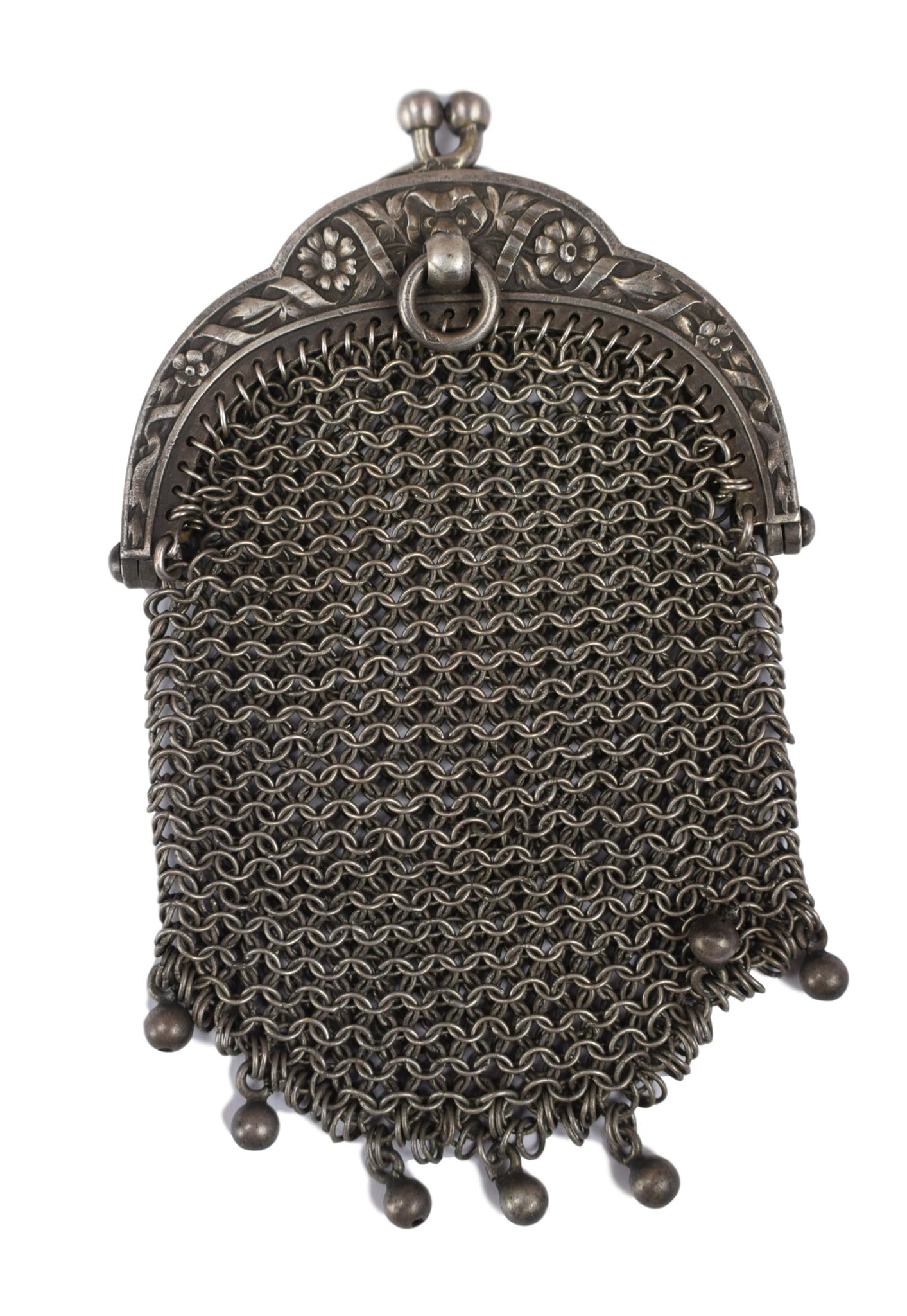 Mesh Chatelaine Silver Coin Purse - Charmantiques