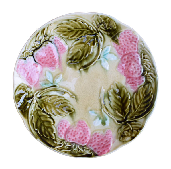 French Antique Majolica Straberry Cabinet Plate - Onnaing Wall Hanging Plate - Floral Flower Plate - French Garden Kitchen Plate