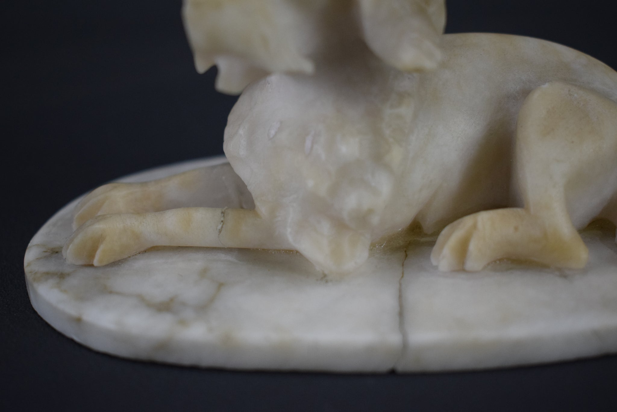 Carved Alabaster Dogs - Charmantiques