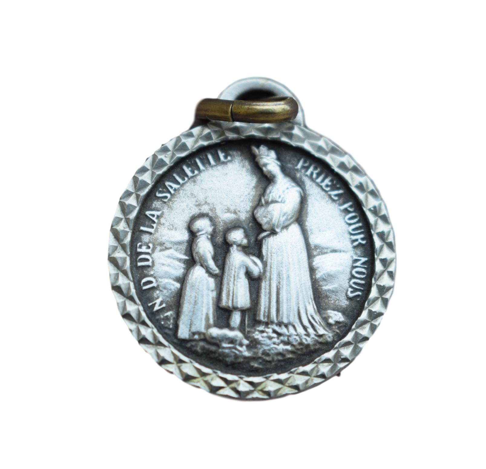 Our Lady Of Salette Medal - French Vintage Holy Mary Medal Pendant - Religious Necklace Gift Communion Baptism