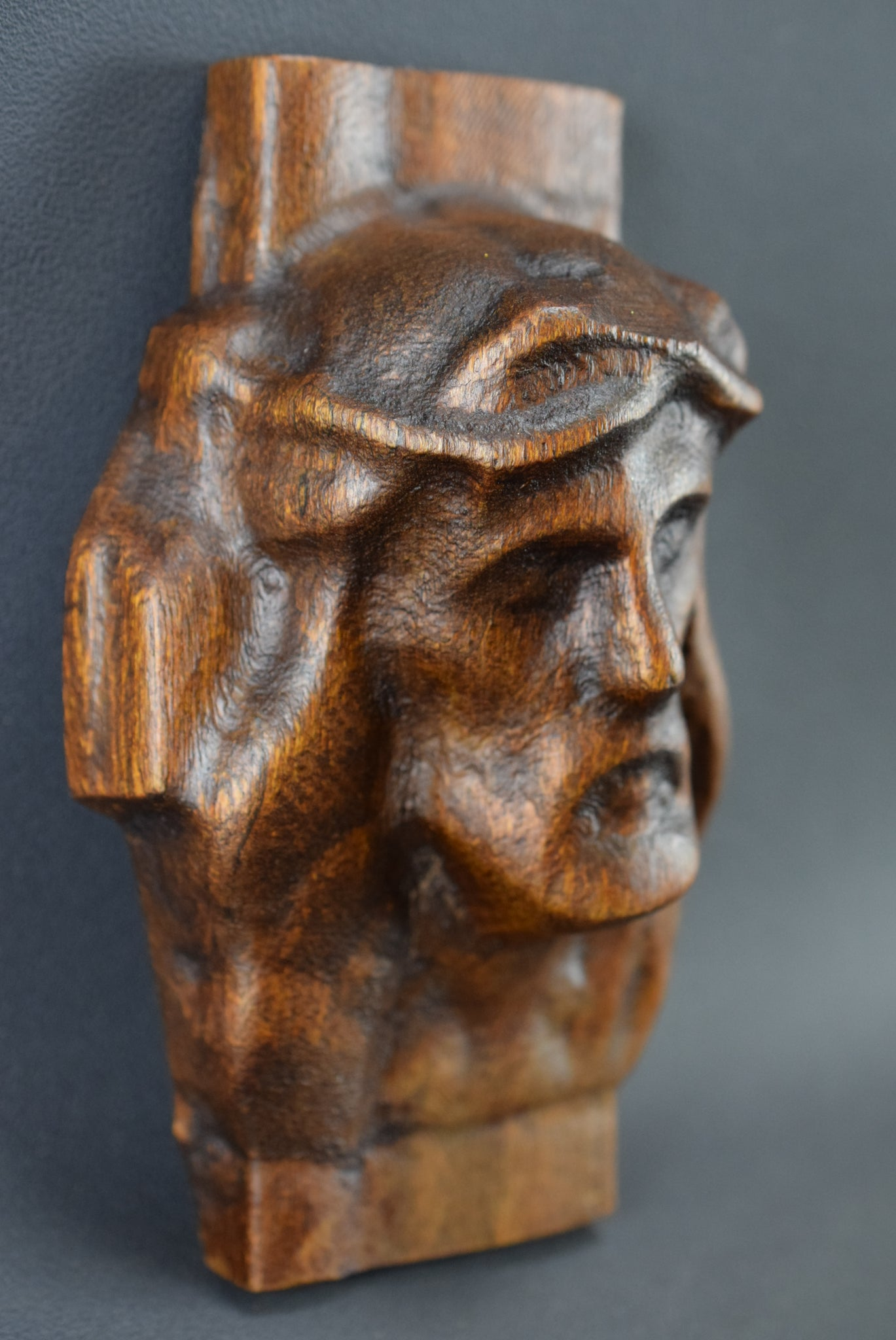 French Vintage Carved Wood Holy Face of Jesus Sculpture Carving Wall Panel