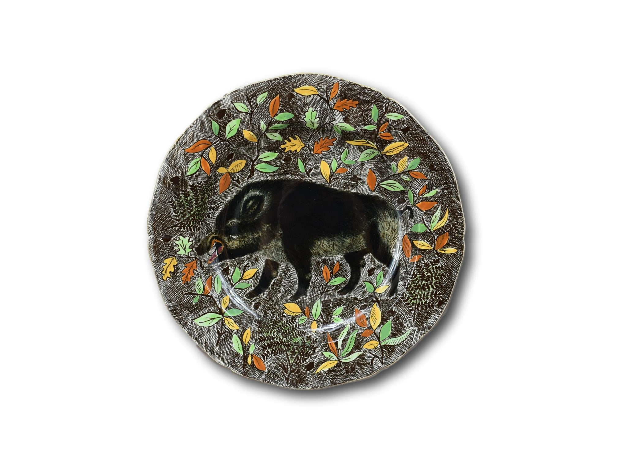 Vintage Rambouillet Gien Serving Plate, Hand Painted Wild Boar Wall Plate, Razzorback Hunting Majolica Dish