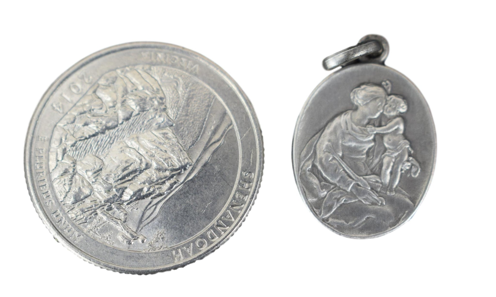 Madonna Child Silver Medal - Charmantiques
