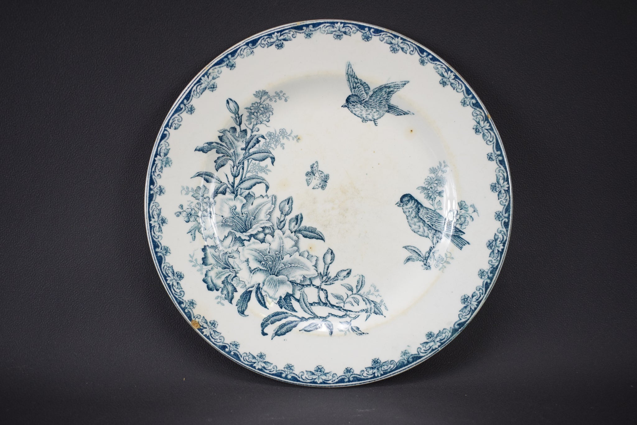 Set of 4 Blue & White Ironstone Bird Plates - Charmantiques