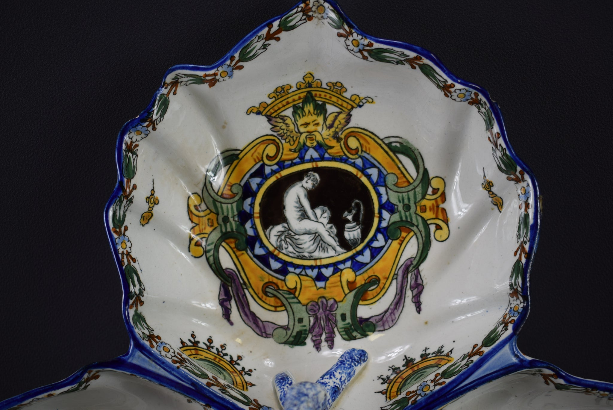 Gien Antique French Hand Painted Pottery Handled Bowl Serving Dish White Renaissance