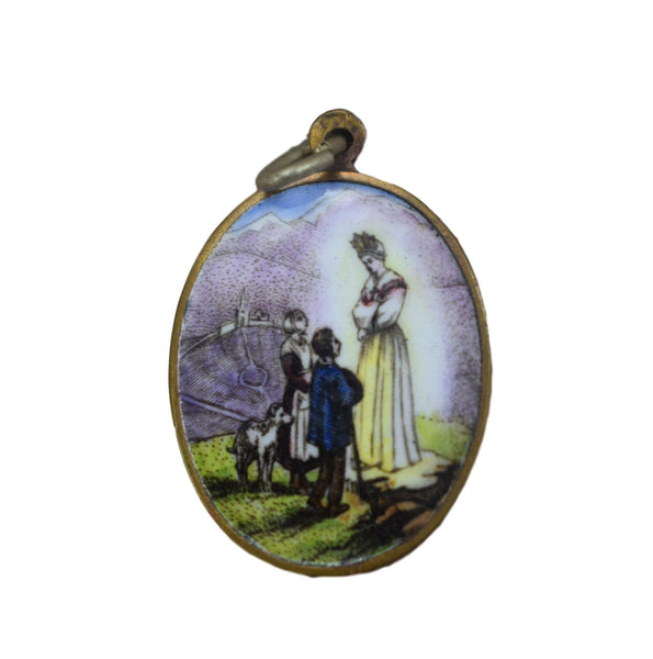 Our Lady Of La Salette Enamel Medal - Charmantiques