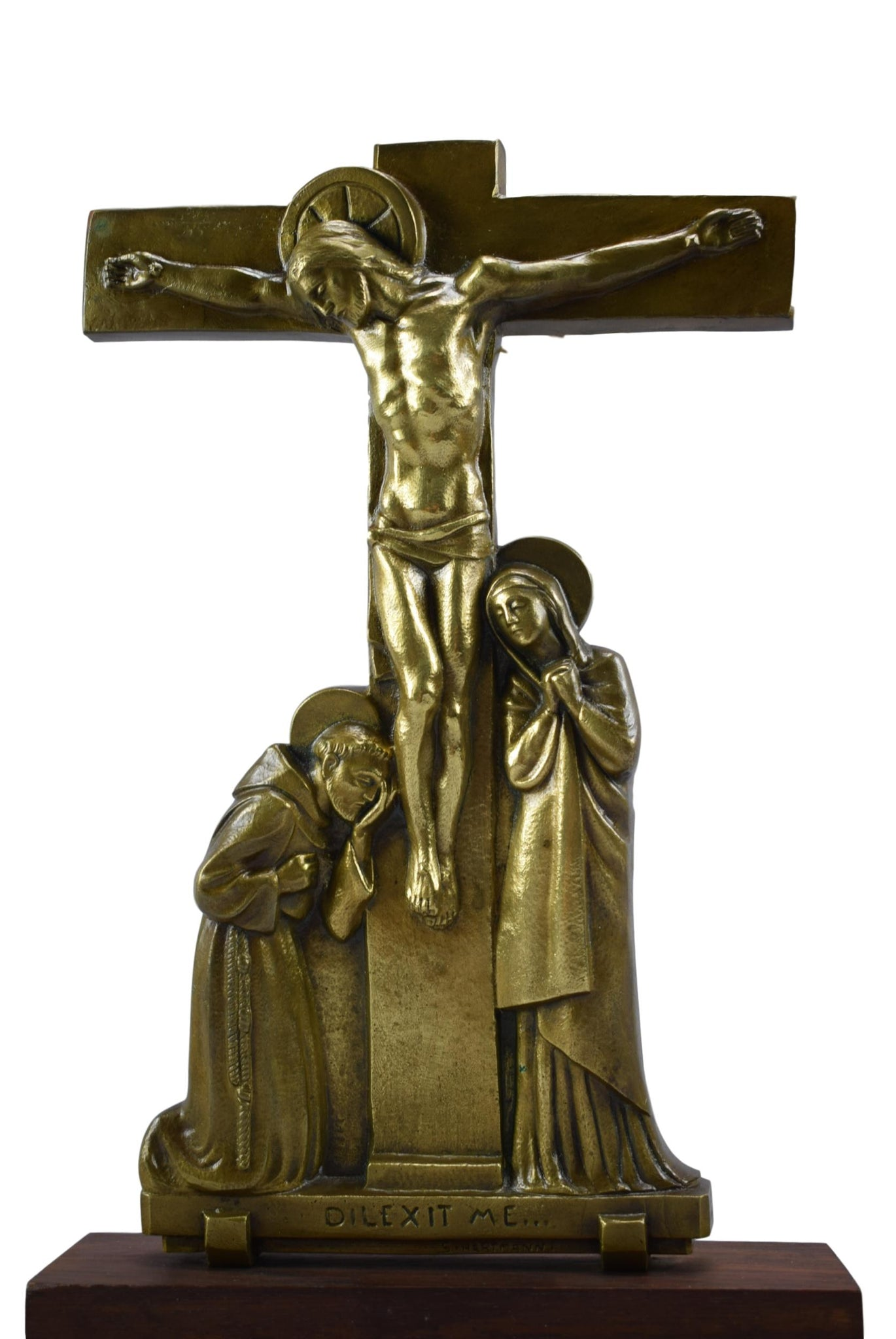Calvary Group Standing Crucifix by S Hartmann - Charmantiques
