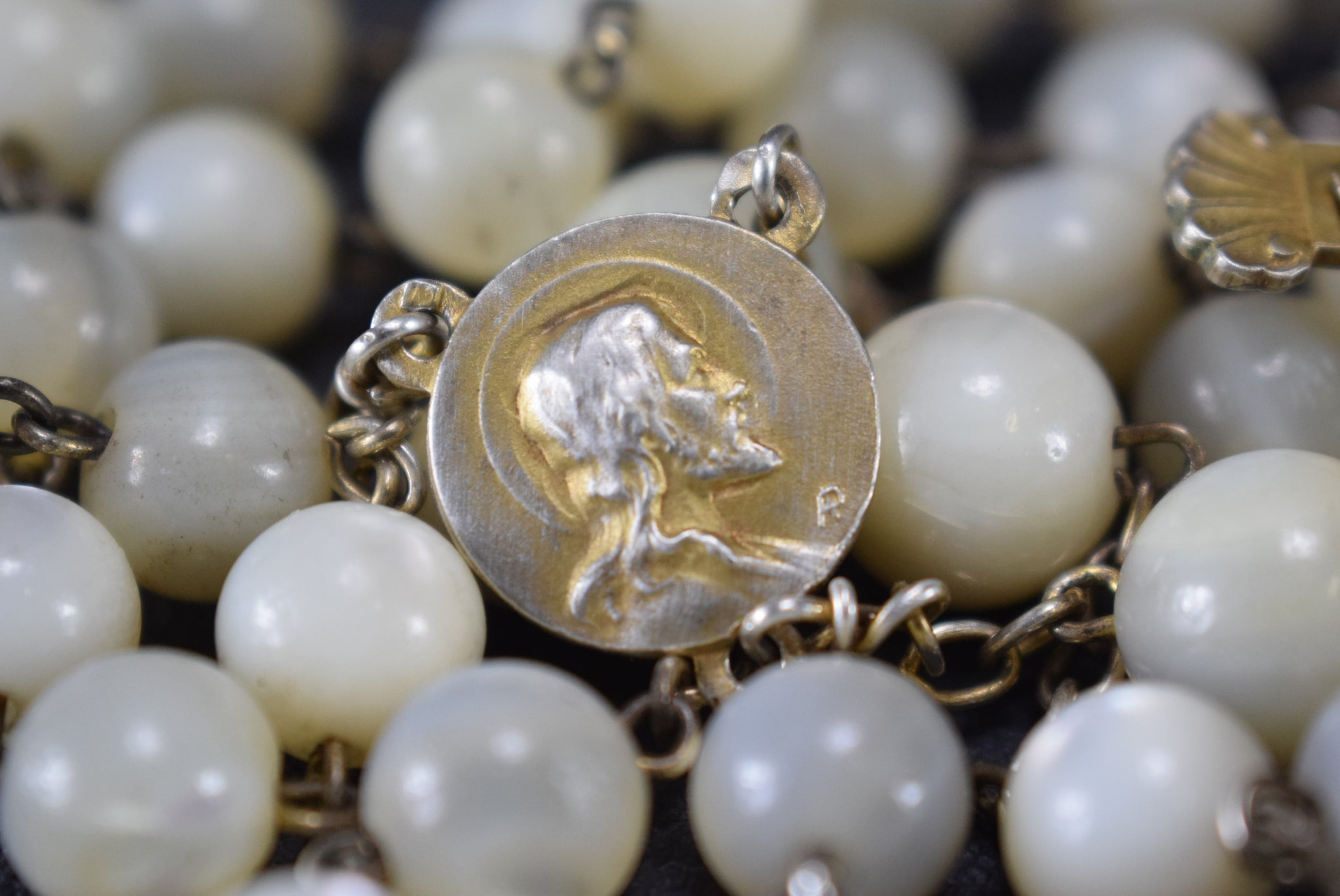Antique French Mother of Pearl Beads & Gold Sterling Silver Rosary