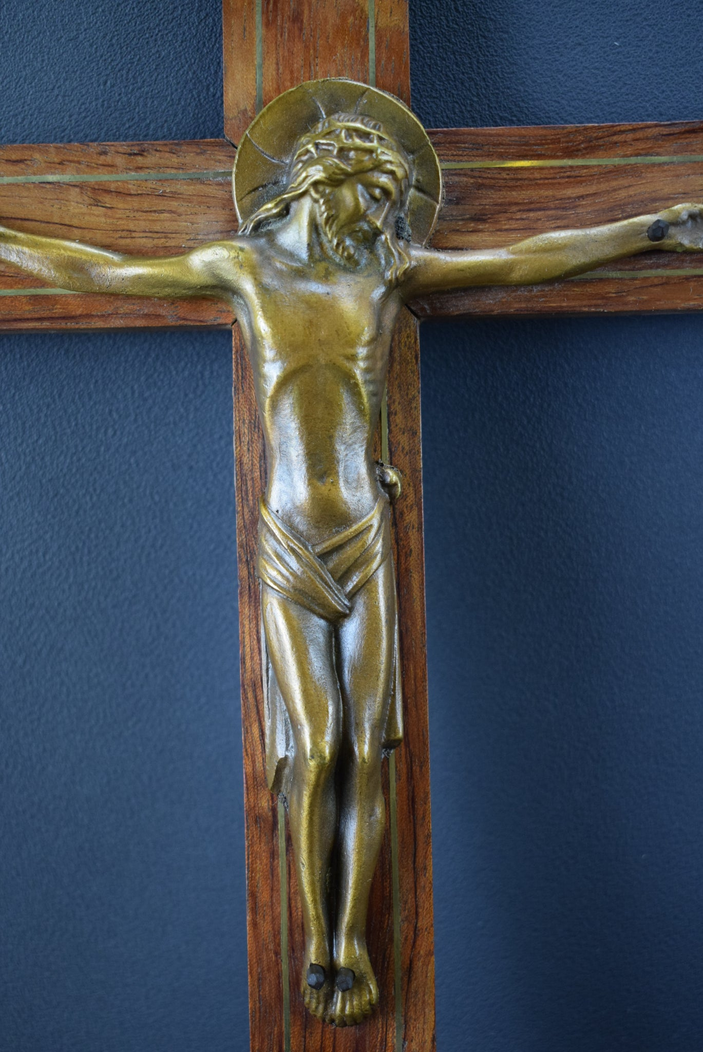 French Art Deco Gallo Bronze and Wood Wall Cross Crucifix