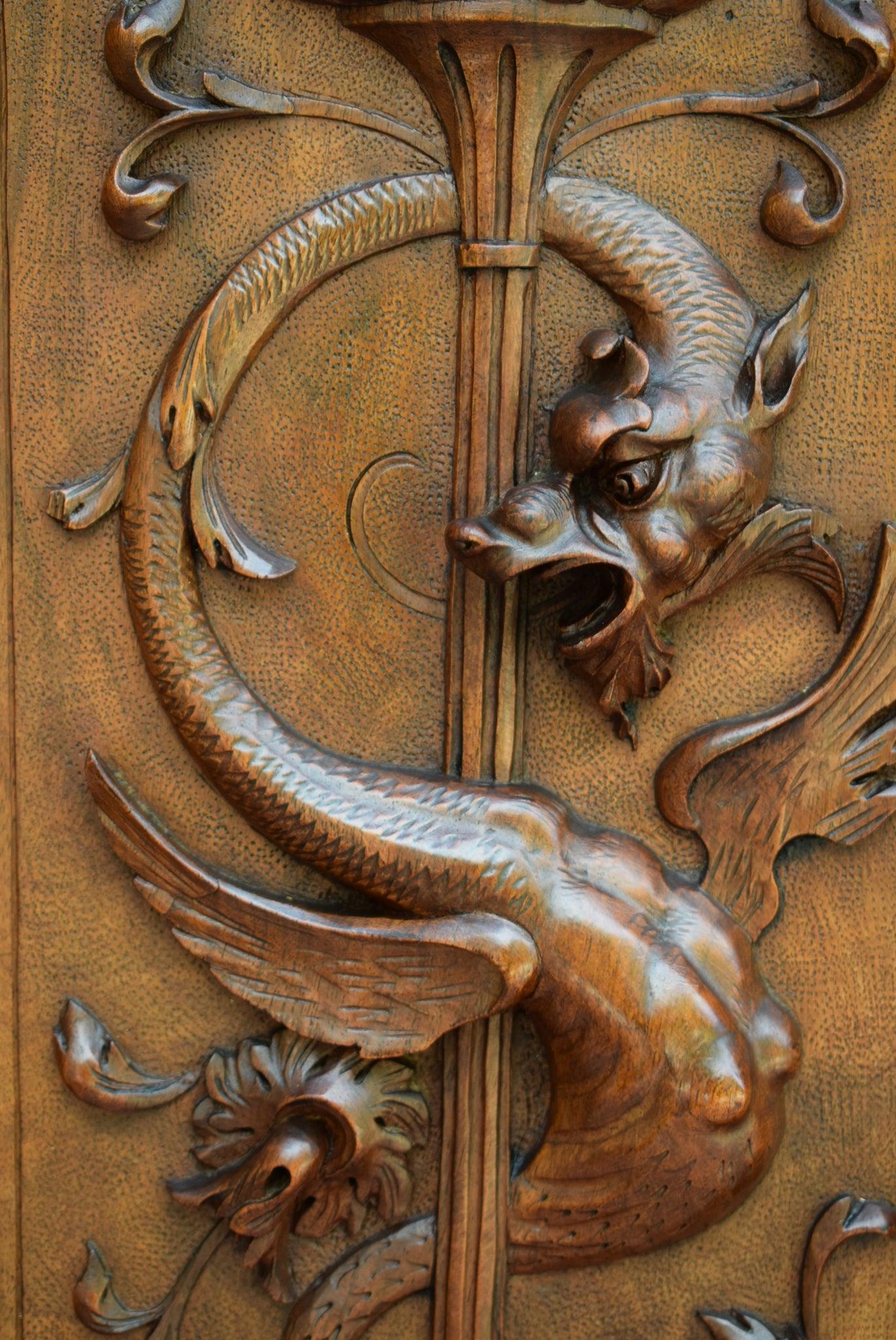 French Antique Exceptional Hand Carved Griffin Wood Door - Victorian Griffin Chimera Walnut Wood Panel - & Exceptional French Antique Hand Carved Griffin Chimera Wood Door ...