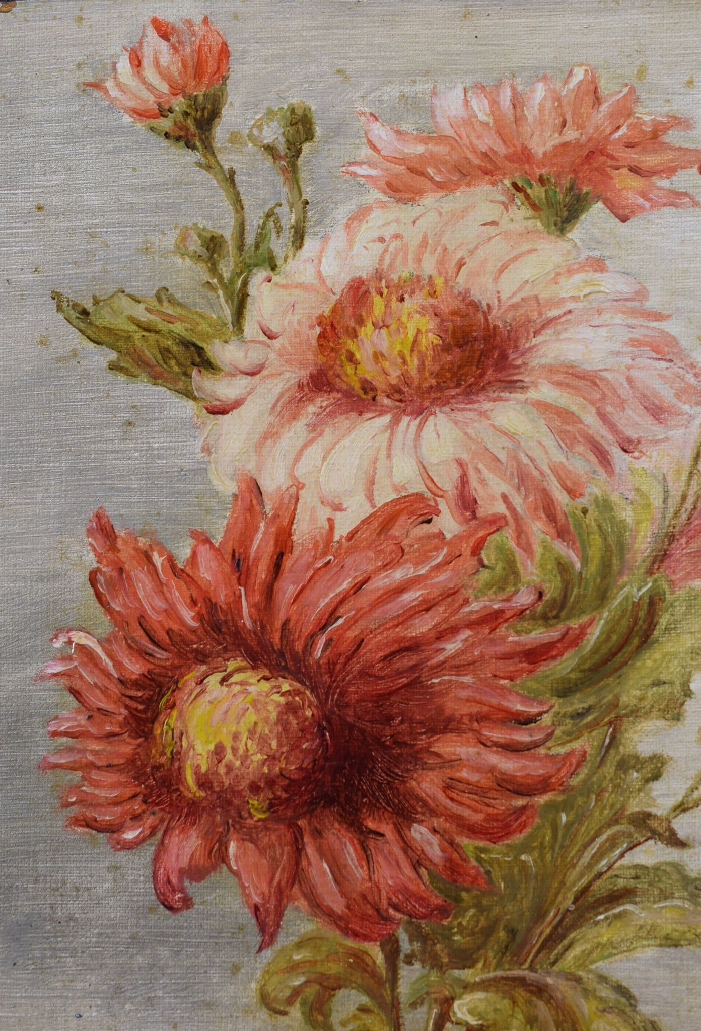 Oil Painting Bunch of Flowers Signed Floral Still Life 1938 Peony