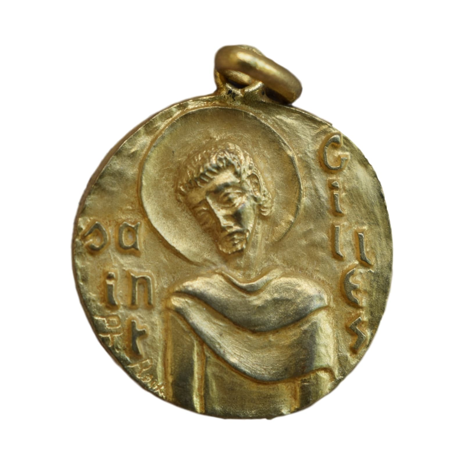 Saint Gilles Giles Hermit Medal - French Religious Vintage Gold Medal Pendant Charm by Philippe Roch - Modernist Design - St Patron