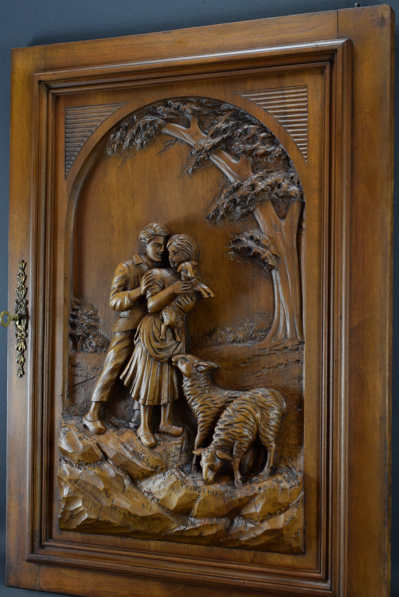 Large & Thick Hand Carved Wood Door Panel Country Sheep