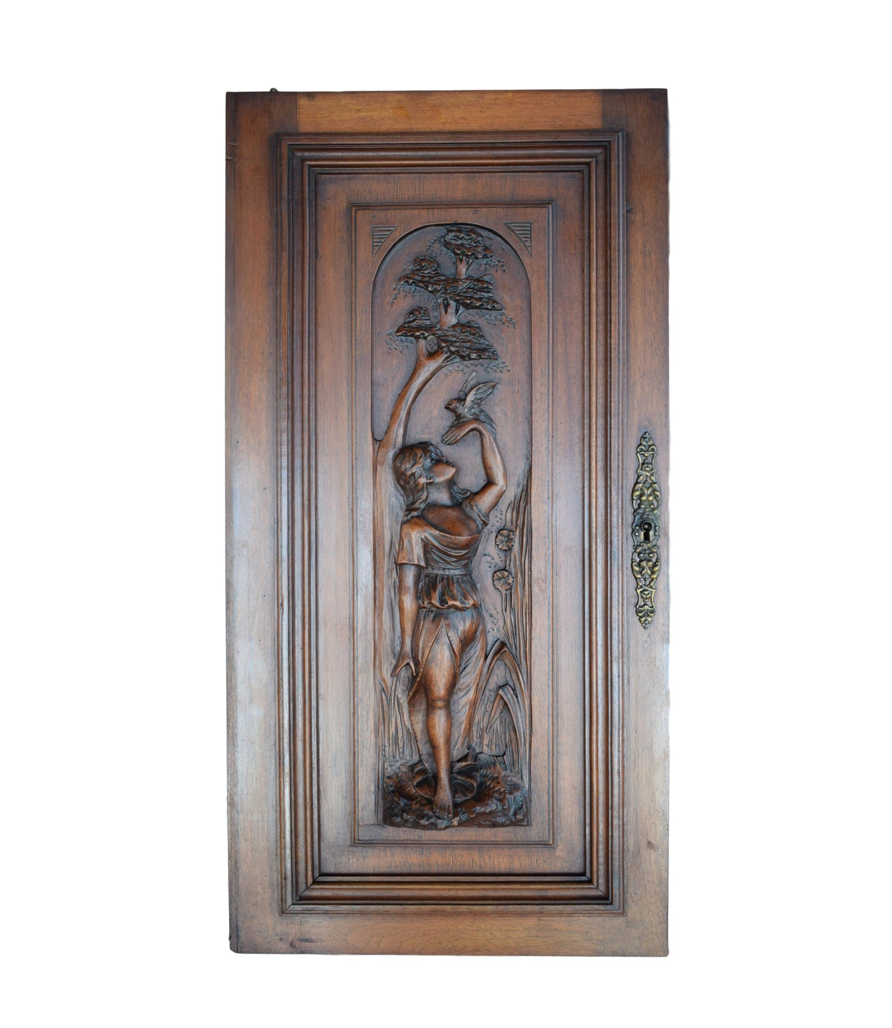 Bird & Lady Wood Door - Charmantiques