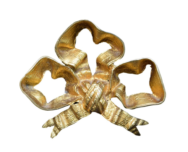 French Antique Ormolu Bronze Bow Pediment - Charmantiques