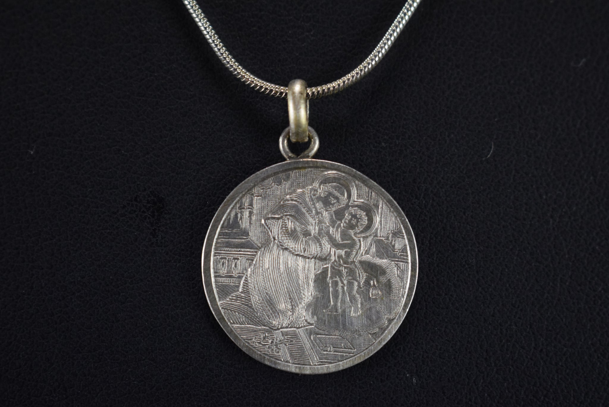 St Anthony Padua Engraved Medal - Charmantiques
