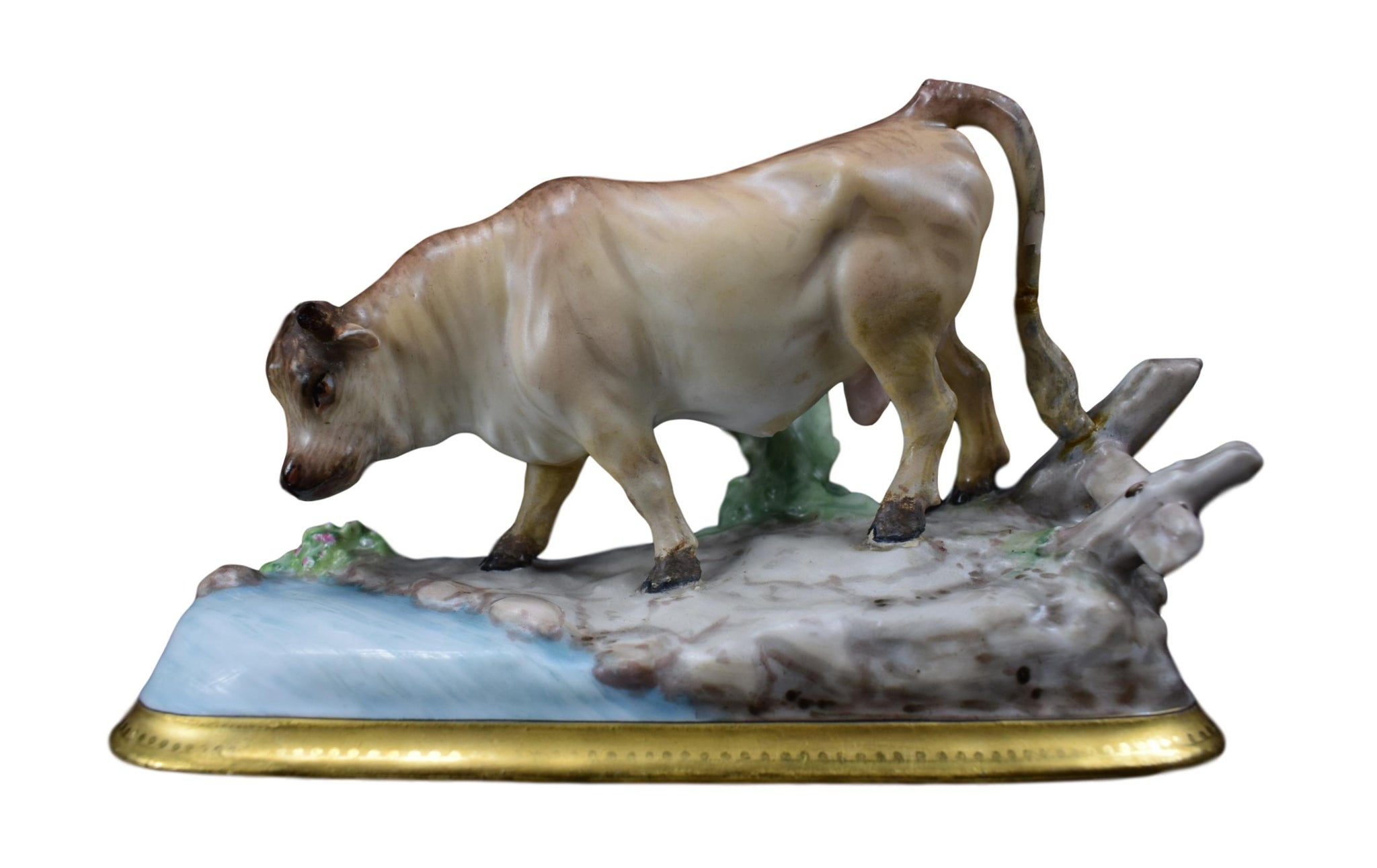 Henri Ardant & Cie Porcelain Bull Figurine, Rare Limoges Porcelain Statue, 19th.C French Antique China Bull Cow