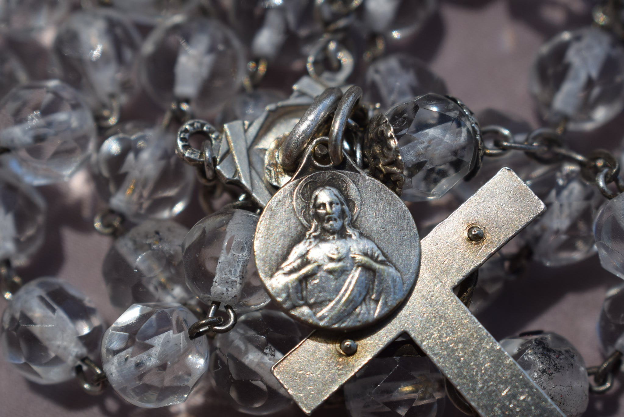 Art Deco Silver Rosary - Charmantiques