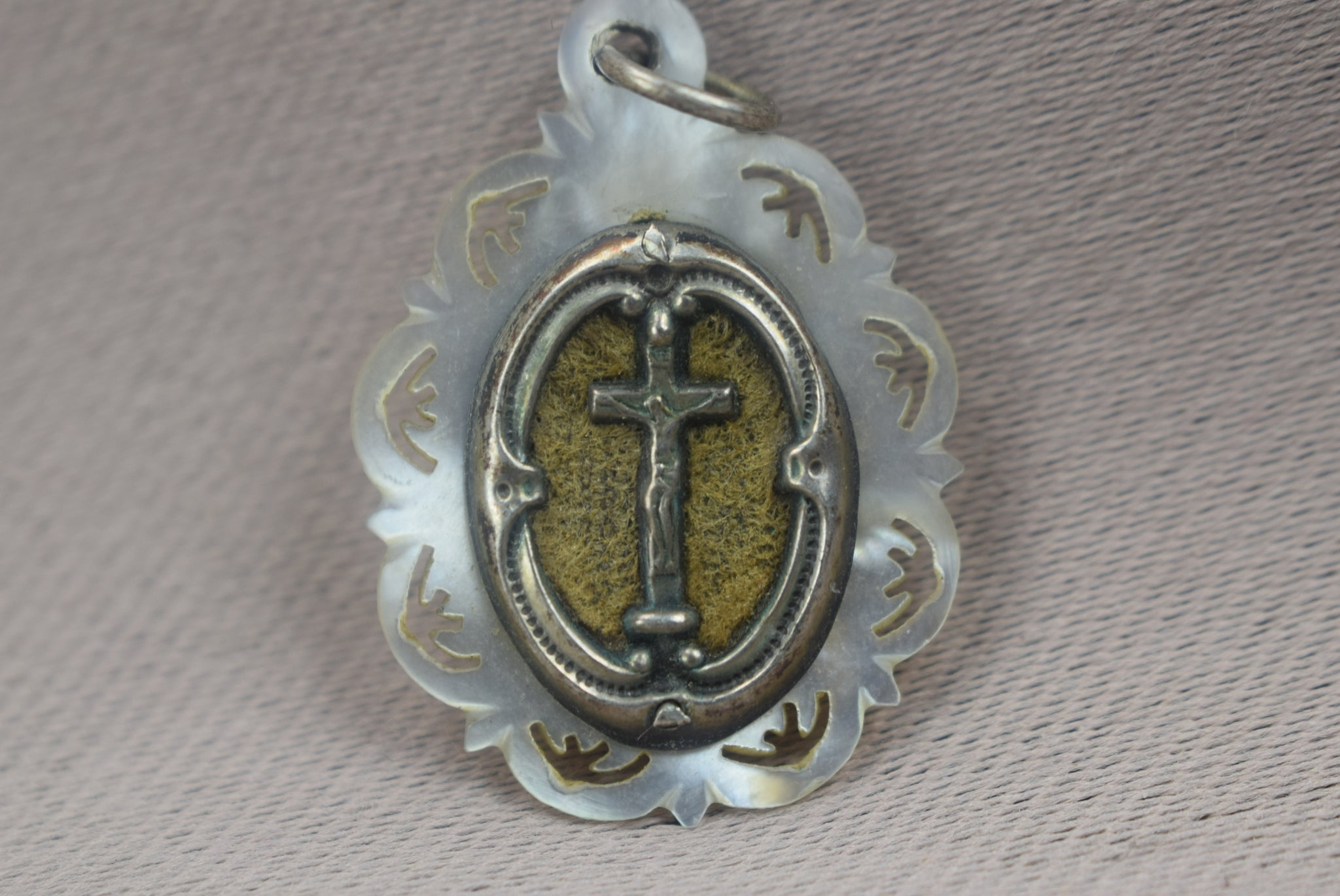 Religious Carved Mother of Pearl Miraculous Medal, French Antique 1830 Virgin Mary Pendant, Jesus Crucifix Medal, Sterling Silver Medal