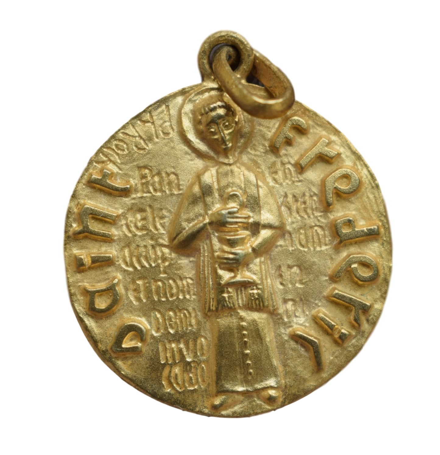 Saint Frederic Freddy of Utrecht Medal - French Religious Vintage Gold Medal Pendant Charm by Philippe Roch - Modernist Design