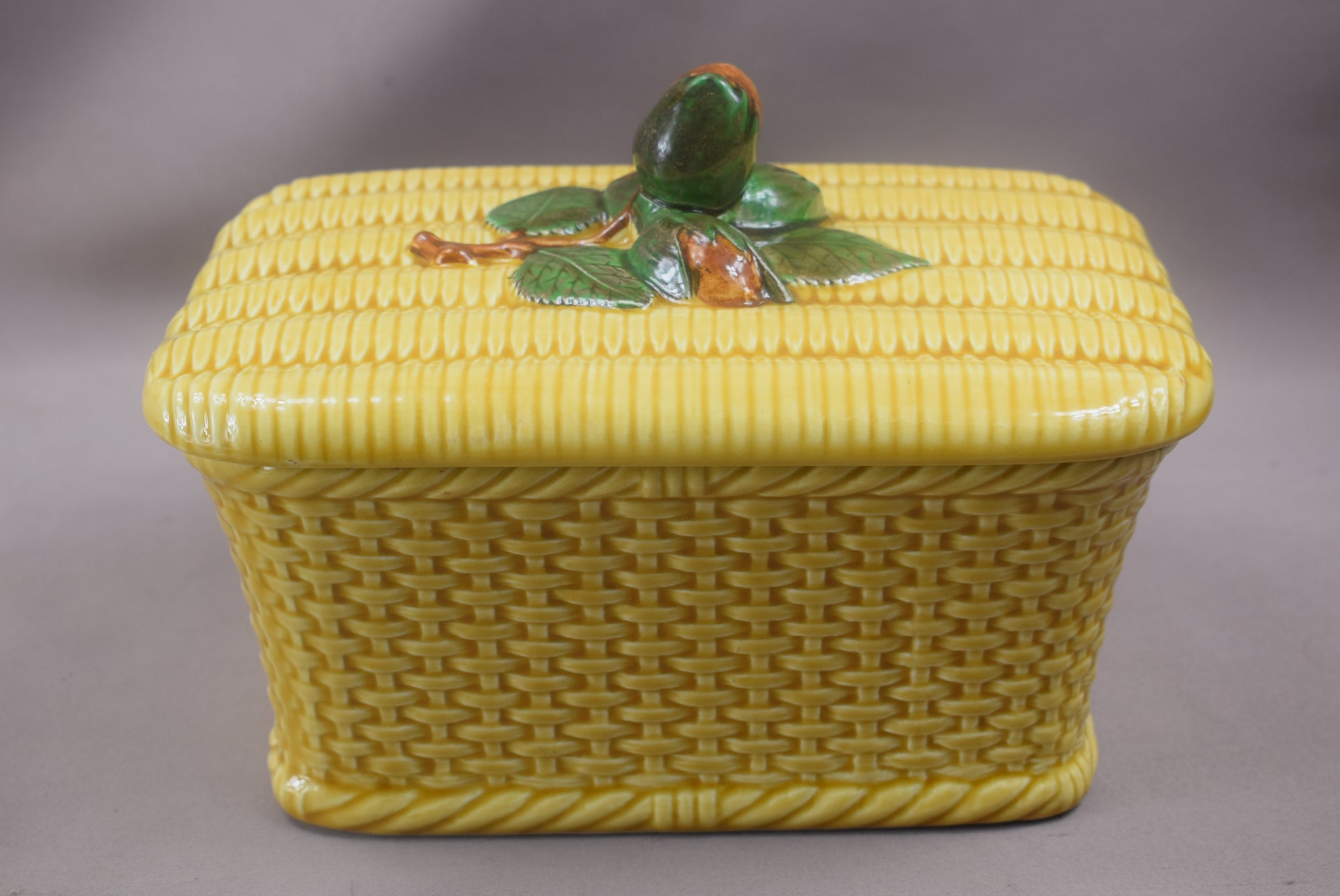 French Vintage Majolica Basket Tureen, Hazelnut Wicker Basket Lidded Box, Yellow Glazed Pottery Pot, French Country Decor