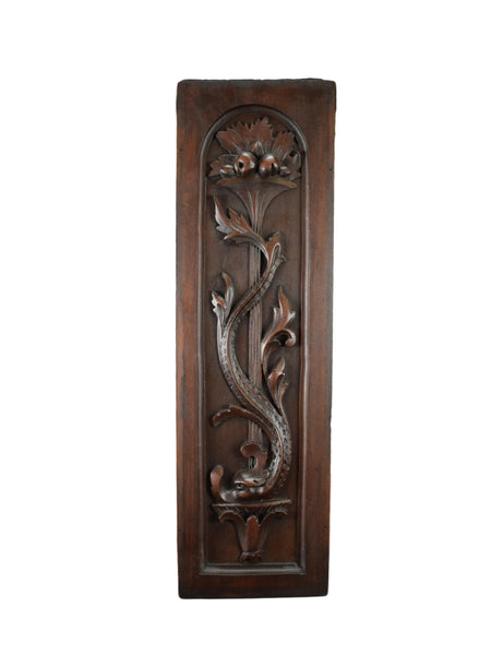 French Antique Carved Wall Panel Door Dolphin Renaissance Style