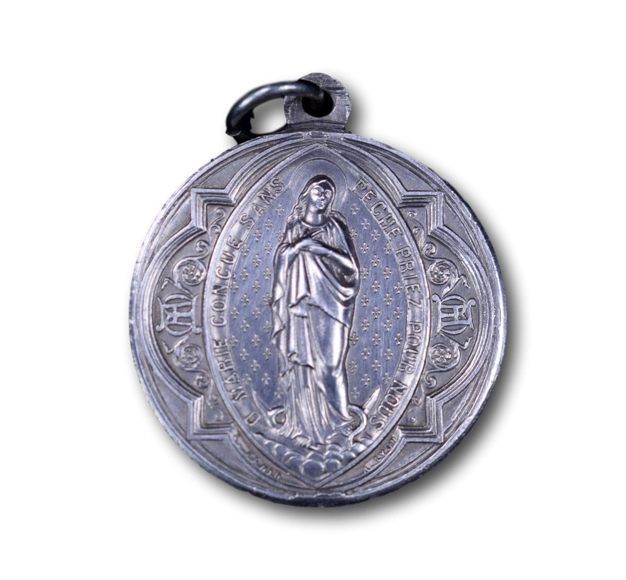 Our Lady Virgin Mary Medal by Penin, French Antique Religious Silver Pendant Charm, Mary's Children Association Parish St Irenee