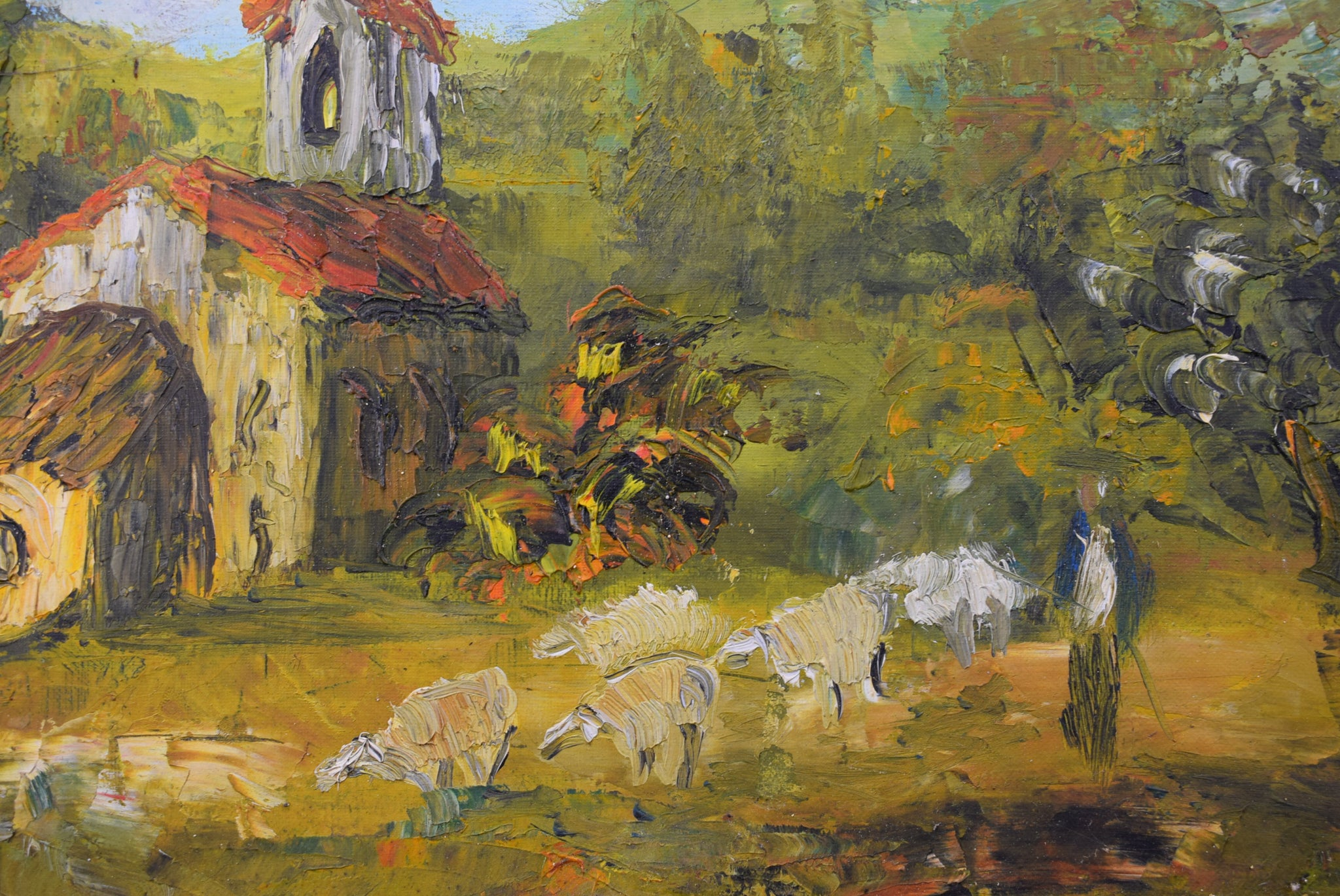 Post Impressionist Sheeps Painting - Charmantiques
