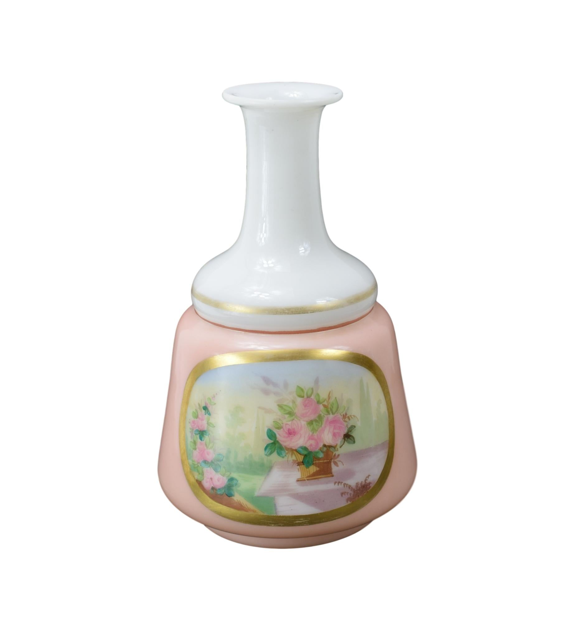 Antique 19th.C Pink and White Opaline Decanter, Hand Painted Bunch of Roses, Shabby Chic Vase, Bonne Nuit, Night Water Decanter